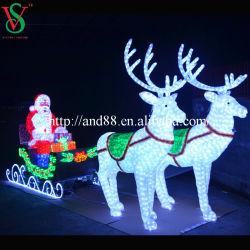 Im Freien LED beleuchtete Weihnachtsmann-Pferdeschlitten-Weihnachtsdekoration