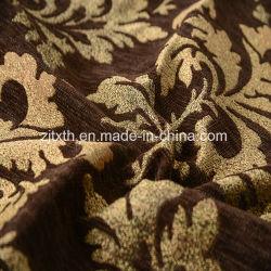 De bruine Stof van Chenille van het Punt van het Blad van de Jacquard voor Bank en Textiel