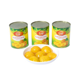 缶詰食品の缶詰にされた黄色いモモはプライベートラベルと2等分する