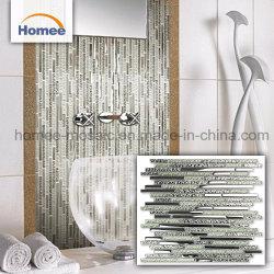 Glitter blanc miroir mural crépitement Mosaïque de verre en cristal de diamant