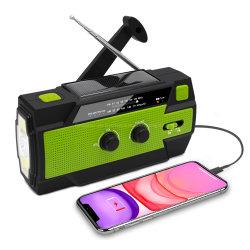 신제품 태양 크랭크 AM FM 다기능 휴대용 다이너모는 힘 은행 최고 LED 토치 6 LED 독서용 램프를 가진 비상사태 라디오를 위로 감는다