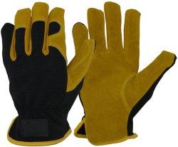 Los hombres de la utilidad de cuero Guantes de jardinería, guantes de trabajo para el jardín y la construcción, destreza y transpirable de guantes de construcción