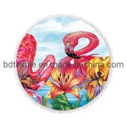 Commerce de gros d'impression personnalisée Flamingo en microfibre Serviette de plage de Mandala ronde