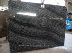 Le bois en marbre fossile en bois noir dalles de pierre bois/veine de tuiles de plancher et de mur