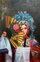 キャンバスの中国の京劇の従来の女性油絵