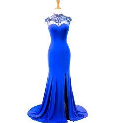 로열 블루 비즈 웨딩 공식 제복 스판덱스 백리스 이브닝 드레스 M71303