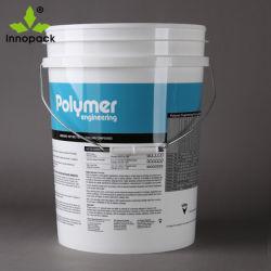 Bote de pintura de plástico de 5 galones, al por mayor de 20 litros con tapa de cubo de plástico blanco