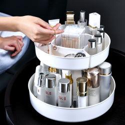 Multifuncional 2 capas de plástico de gran capacidad para rack de cosméticos del organizador de escritorio Caja de maquillaje para mujeres