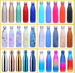 Commerce de gros à simple paroi en acier inoxydable 304 750ml Cola Sports en forme de bouteille d'eau