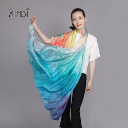 100 lenço de seda Chiffon Fashion Cachecóis Lady Bandana Impresso Digital