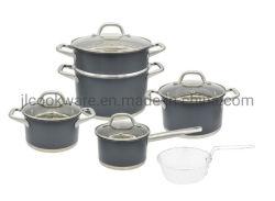 Couleur Bleu Noir populaire jeu de batterie de cuisine Ustensiles de cuisine avec panier d'outils de cuisine