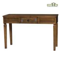 Mobilier de bureau en bois en détresse Table console avec marqueterie de marbre