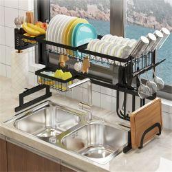 Negro de acero inoxidable Accesorios de cocina utensilios de cocina el plato de secado de las placas de Rack de almacenamiento a través de fregadero