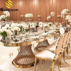Ovale transparente Glas-Esstische für Hochzeiten Party Möbel verwendet