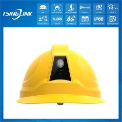 موقع البناء في حقل منجم خارجي IP66 كاميرا البطارية بدقة 1080p HD بث فيديو CCTV التعرف على الوجه الإنتاج الآمن 4G السلامة الذكية خوذة