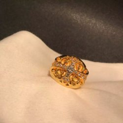 Verdadeiro 22K de ouro com diamante ou Crystal CH Cruz