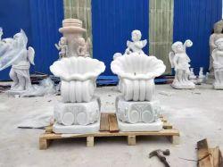 Jardín de forma de concha de mármol tallado en piedra escultura Maceta