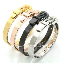 Jóias de casais Fashion bracelete de aço inoxidável 316L caixa de travamento do cinto do manguito Bangle