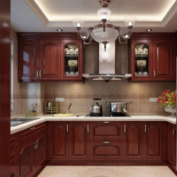 Armadio da cucina di legno solido classico della mobilia su ordinazione della cucina