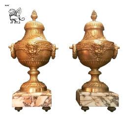 Vida Hot-Selling Size Casa Villa Decoration Bronze Dourado antigo vaso de latão com pedra Metais Flowerpot Bfc-025