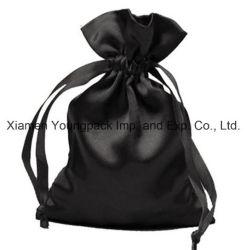 Moda Luxo Promocional Personalizado Grande Preto com Cordão Bolsa de Cetim
