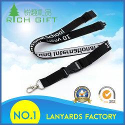 Promotion Flat Polyester Woven Jacquard Neck Lanyard avec Label Logo No Minimum