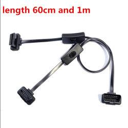 Адаптер OBD2 удлинительный кабель 2 в 1 с помощью переключателя