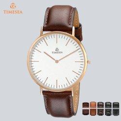 Mens-kundenspezifische Firmenzeichen-Armbanduhr-Quarz-Uhr mit echtem Leather72024