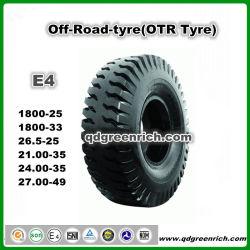 Off Orad pneu pneu de camion à benne de chargeur de grue 18.00-25 18.00-33 1800-25 1800-33 2100-35 2700-49 2400-35 21.00-35 24.00-35 27.00-49 E4 Utilisation d'exploitation minière OTR pneu