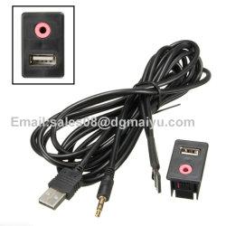 Montagem embutida para fone de ouvido de 3,5 mm Aux USB Tomada macho Adaptador de montagem do cabo de entrada do painel