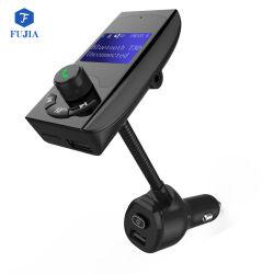 Transmissor FM veicular Bluetooth mãos livres sem fios do receptor do adaptador de áudio do Kit Veicular do Voltímetro TF Card Aux 1.44 Exibir