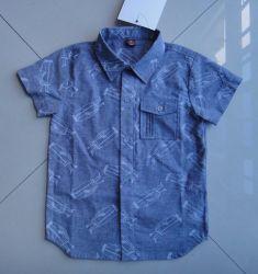 100% Cotton Stand Collar Boy'S Shirt Korte Hoes