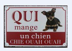 Advertencia de artesanía popular perro de firmar una placa de metal arte de pared