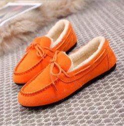 2018 женщин конфеты цвет подлинной велюр кожаные туфли обувь
