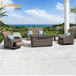 Venda por grosso de mobiliário em vime exterior Jardim de vime Rocking sofá com Fogueira para projeto de Hotel - Jane (prontos para envio)