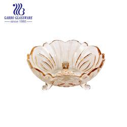 Fantasía galvanoplastia decorativos dorado ensalada de frutas el tazón de vidrio con patas Iónica tazón de vidrio para la boda de la cena con precio al por mayor