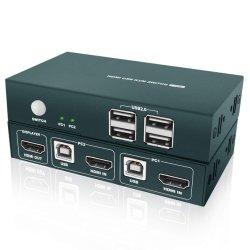 KVM スイッチ HDMI 2 ポート、 USB 2.0 ハブ 4 個、 UHD 4K ( 30Hz 時)、ワイヤレスキーボードおよびマウスをサポート、電源不要