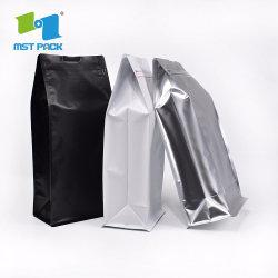 Commerce de gros compostables emballages alimentaires sous étiquette privée personnalisé du papier aluminium carrés plats bas du bloc distributeur de café sacs biodégradables Sachets avec fermeture zip
