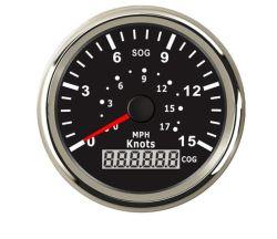 """85мм лодки GPS спидометр привода спидометра манометр 15 узлов 0-17 миль на яхте 3-3/8"""""""" (85мм) 9-32V"""