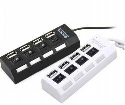 Cavo Port dell'adattatore di corrente continua Degli interruttori acceso/spento del USB 4 del mozzo di alta velocità 2.0 per il mozzo del USB del computer portatile del PC