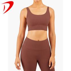 Parte superiore lunga del reggiseno dei vestiti di ginnastica di forma fisica della tintura del legame dei manicotti MOQ di yoga del tessuto basso senza giunte dei capretti di usura