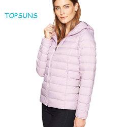 La ropa de niña niño Outwear Water-Resistant ligera capa de Nylon de color rosa con Capucha Packable Down Jacket