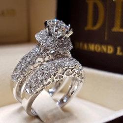 Piedra de zirconio cúbico AAA completa de los anillos de boda y compromiso conjunto de anillo Set regalo CR1014