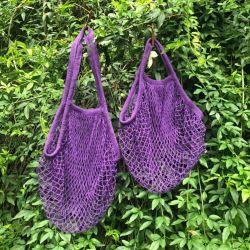 Sacchetto tessuto rivestimento lungo personalizzato del tessuto netto del sacchetto della frutta del cotone del contrassegno del poliestere della maniglia di formato per prodotti