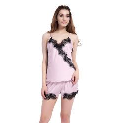 De Pyjama Femme van de Zijde van het Satijn van het Kant van de Reeksen van de Pyjama van de Vrouwen van de Pyjama van de Zomer van vrouwen de Pyjama's van de Kostuums van de Nacht van de Zitkamer van de Nachthemden van 2 Stukken voor Vrouwen