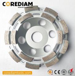 115mmの二重列のダイヤモンドの粉砕のコップの車輪の具体的な粉砕車輪