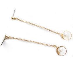 Heißer Verkaufs-neue Entwurfs-Metallstift-Ohrring-Kette mit Perlen-Schmucksache-rundem Ring-Ohrring