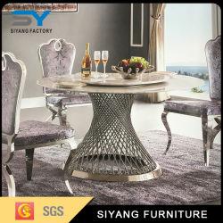 Muebles de comedor mesa de comedor redonda Paiting de oro
