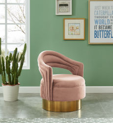 금속 금 거실 가구를 가진 회전대 악센트 의자 우단 직물