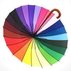 24 ضلوع خشبية مقوسة مقبض قوس قزح مظلة 24 ضلوع مخصصة عرض ملون ذو جودة عالية ومظلة قوس قزح خشبية مستقيمة ذات لون عالى